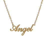 Stylish 18K gold-plated stainless steel necklace with angel nameplate pendant - script