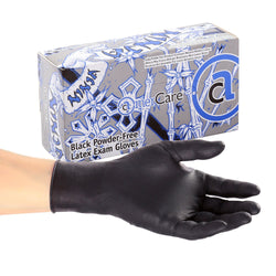 GLOVE, NINJA BLACK,  LATEX, PF EXAM Case of 1000