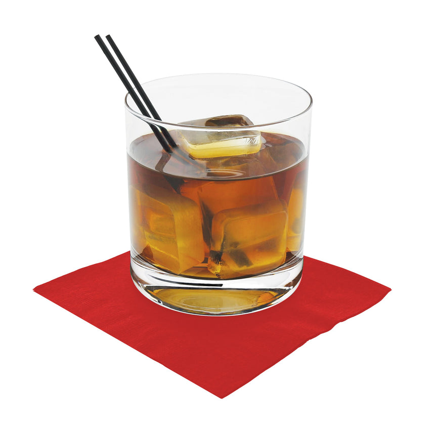NAPKIN BEVERAGE 2 PLY RED 254 mm X 254 mm, Case of 1000