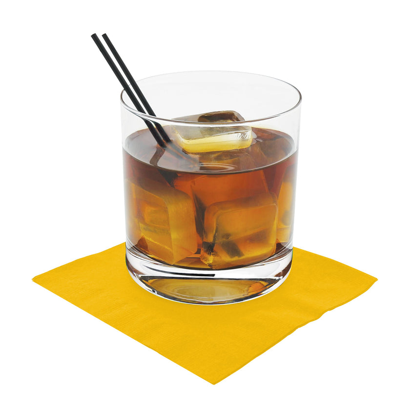 NAPKIN BEVERAGE 2 PLY YELLOW 254 mm X 254 mm, Case of 1000