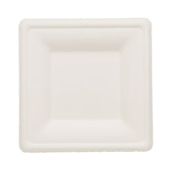 SUGARCANE (BAGASSE) PLATES SQUARE 160 mm x 160 mm, Case of 500