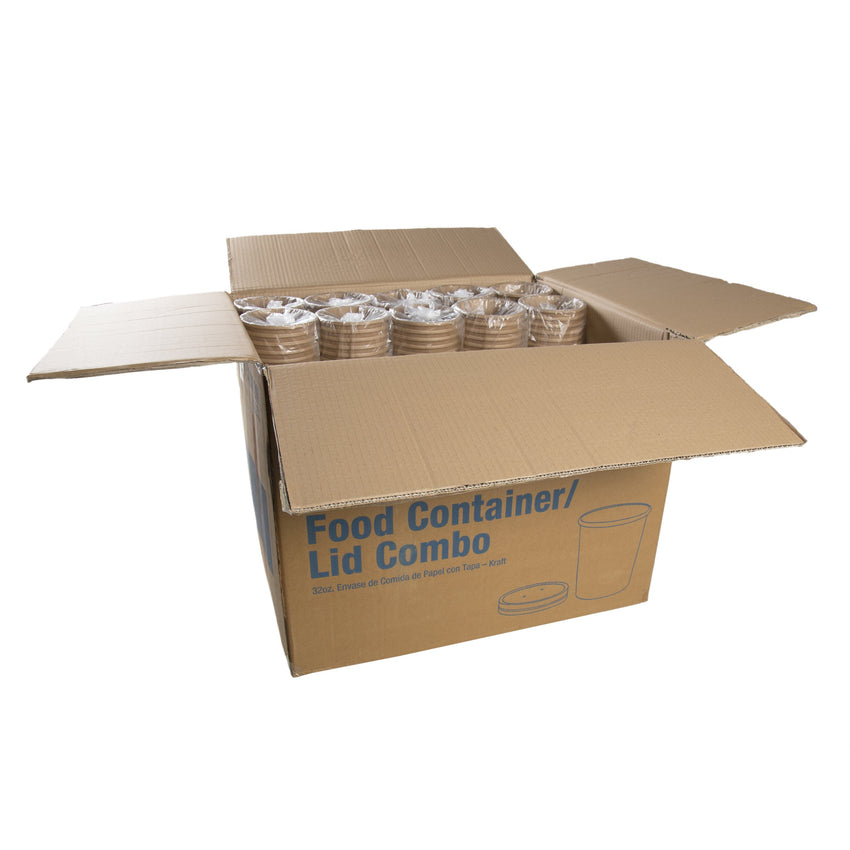 945 ml KRAFT PAPER FOOD CONTAINER AND LID COMB, Case of 250