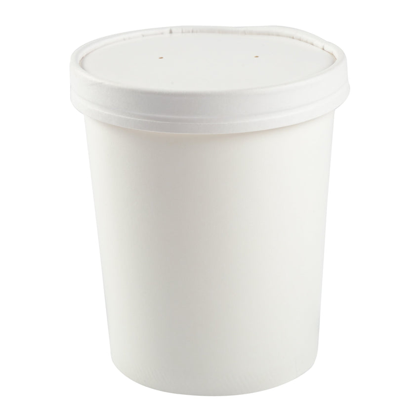 945 ml WHITE PAPER FOOD CONTAINER AND LID COMBO, Case of 250
