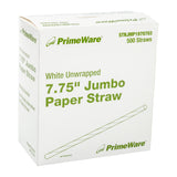196 mm JUMBO UNWRAPPED WHITE PAPER STRAW, Case of 4000