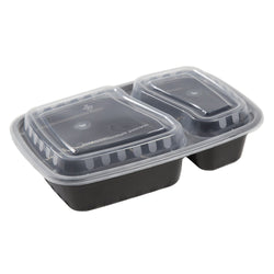 222 mm X 152 mm X 50 mm CONTAINER, TO GO, COMBO, PP, BLACK, RECT, 2-COMP, Case of 150