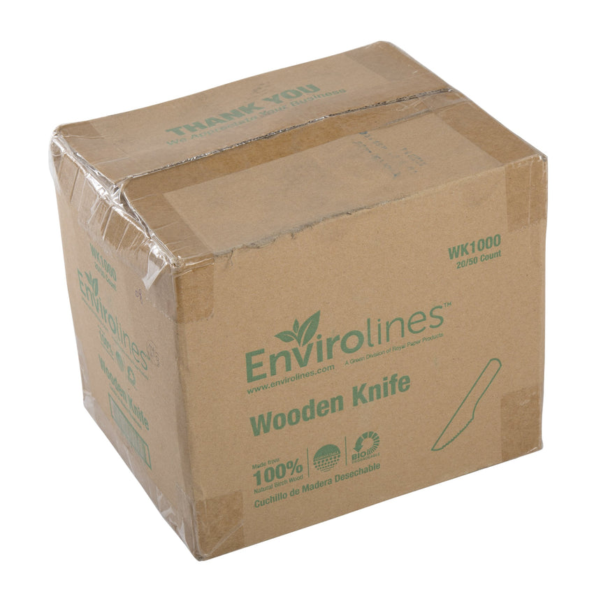 ENVIROLINES HEAVY WEIGHT DISPOSABLE WOODEN KNIFE, Case of 1000