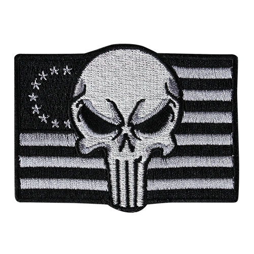 Punisher Flag Morale Patch - Black and White