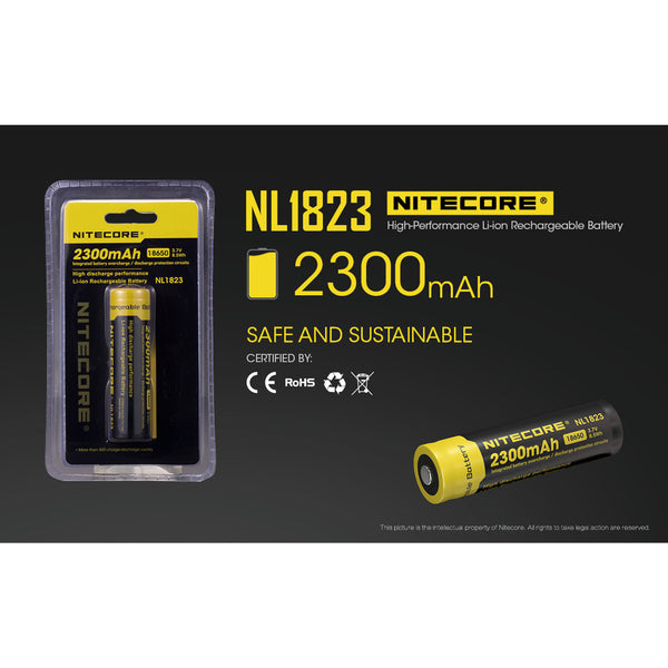 Nitecore NL1823 2300mAH Li-ion 18650 Rechargeable Battery