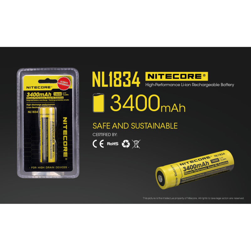 Nitecore NL1834 3400mAH Li-ion 18650 Rechargeable Battery