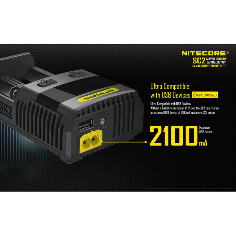 Nitecore SC2 SUPERB Digital 3A Smart Fast Charger