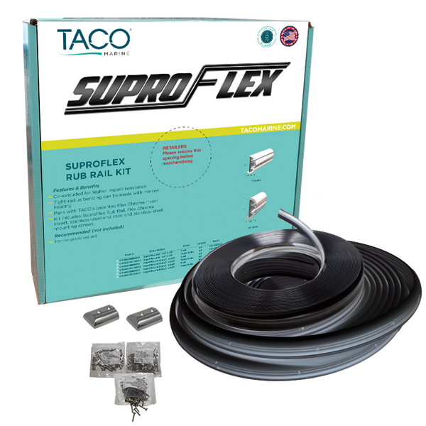 "TACO SUPROFLEX SMALL RUB RAIL KIT 1-19/32"" X 25/32""  # V11-9960BBK60-2 - Essenbay Marine"