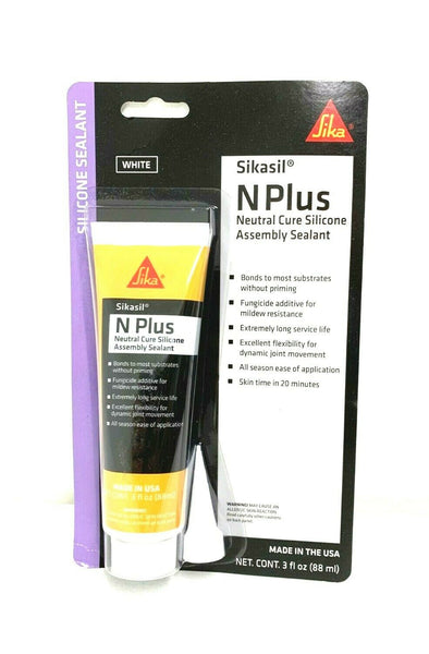 Sikaflex N Plus Neutral Cure Silicone Assembly Sealant White 3oz Tube 610588 - Essenbay Marine