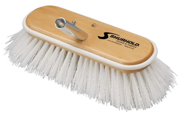 "SHURHOLD 10"" Deck Brush STIFF white polypropylene #990 - Essenbay Marine"