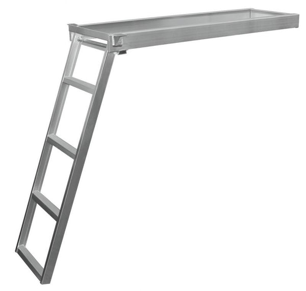 JIF Marine CSD2 4-Step Under Deck Pontoon Ladder Round Front Aluminum - Essenbay Marine