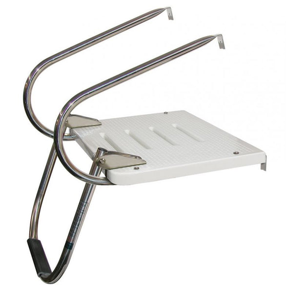 JIF Marine EEQ Platform I/O 1 Step Folding Ladder & Two 316 Stainless Steel Arms - Essenbay Marine
