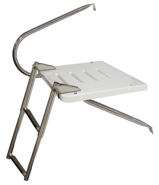 JIf Marine EKU1 O/B Transom Platform Two Step Ladder & One Stainless Steel Arms Top Mount - Essenbay Marine