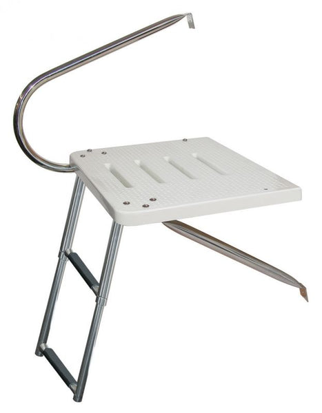 JIf Marine EKU O/B Transom Platform Two Step Ladder & One Stainless Steel Arms Bottom Mount - Essenbay Marine