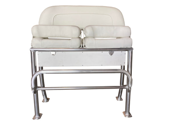 White Leaning Post with Flip Up Bolster Seats & Tackle / Storage Box - Essenbay Marine