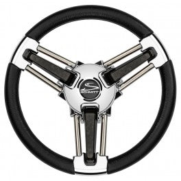 "Schmitt Steering Wheel Burano 14"" Black Polyurethane Stainless Steel Spokes Model PU1051B1-04 - Essenbay Marine"
