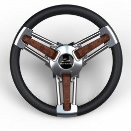 "Schmitt Steering Wheel Burano 14"" Burl Wood Polyurethane Stainless Steel Spokes Model PU105111-04 - Essenbay Marine"