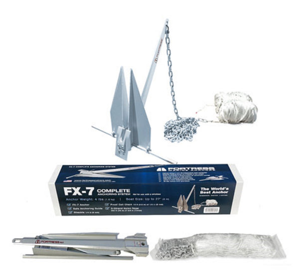 FORTRESS FX-7-AS 4LB Aluminum Anchor 16-27' Boats Complete Anchoring System - Essenbay Marine