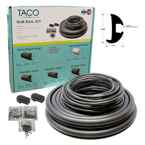 "TACO Flex Vinyl Rub Rail Kit Black/Black Insert 1-7/8"" x 1-1/16"" V11-2423BBK50-2 - Essenbay Marine"
