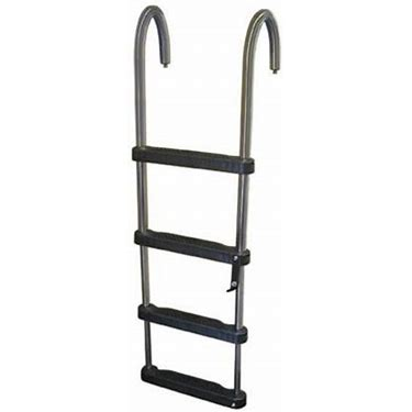 JIF Marine EJZ4 4 Step Removable Telescoping Pontoon Ladder 316 Stainless Steel