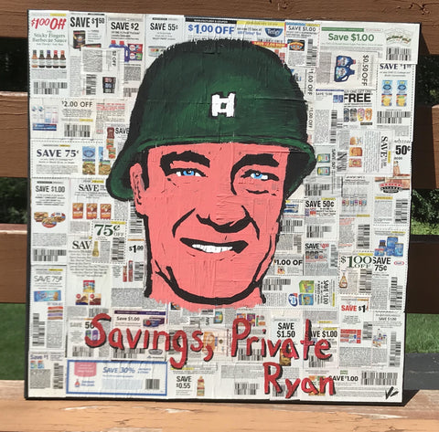 """Savings, Private Ryan"" ORIGINAL 24x24 Canvas"