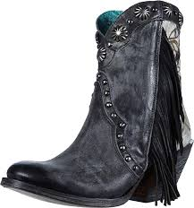 Corral Ladies Black Studs and Fringes Ankle boot J Toe
