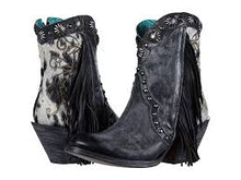 Load image into Gallery viewer, Corral Ladies Black Studs and Fringes Ankle boot J Toe