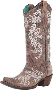 Corral Ladies Brown/White Embroidery