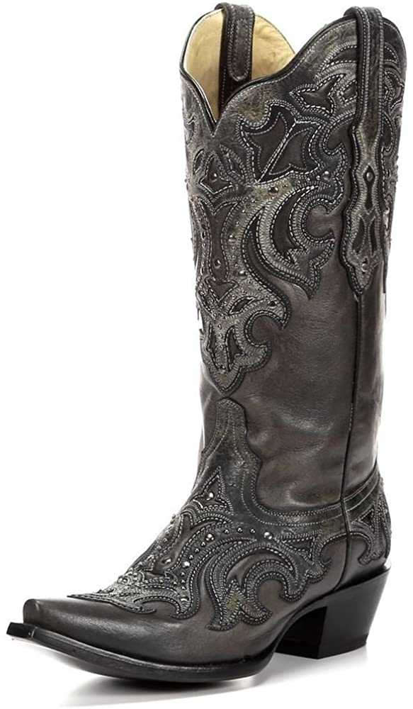 Corral Ladies Black/Grey Inlay and Studs