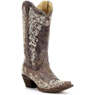 Corral Ladies Brown Crater Bone Embroidery