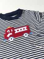 Firetruck Applique Striped Shirt