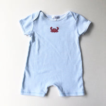 Load image into Gallery viewer, Light Blue Striped Crab Romper