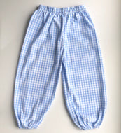 Blue Windowpane Bubble Pants