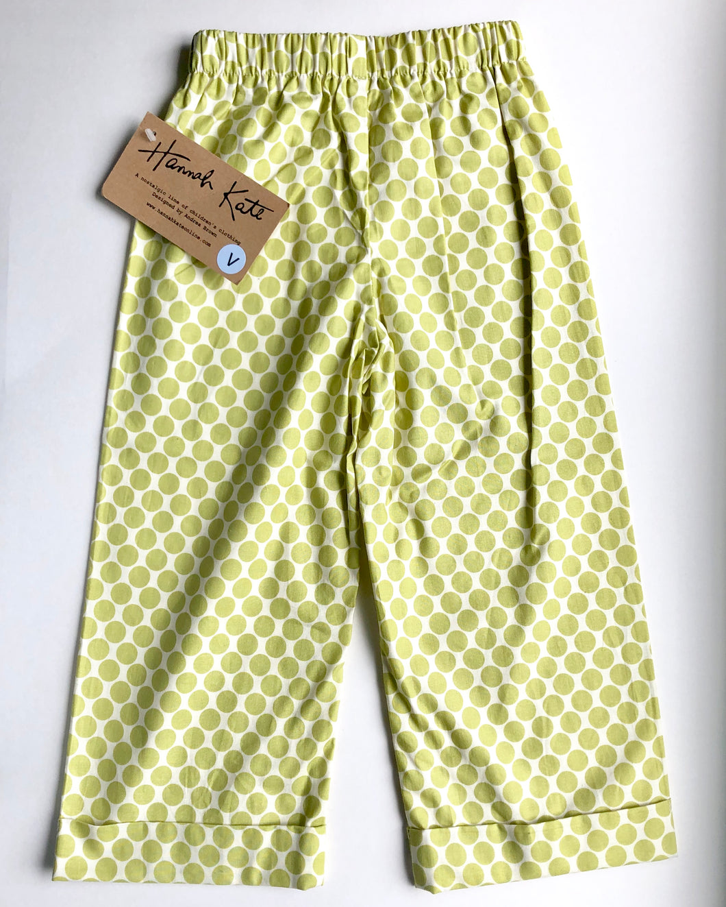 Green Polka Dot Cuff Pants