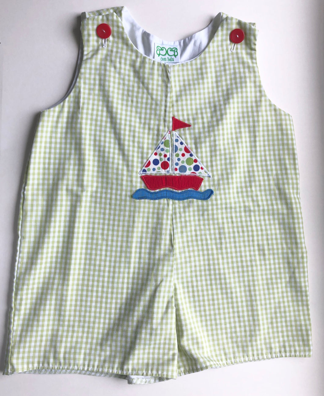 Green Gingham Sailboat Jon Jon
