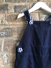 Load image into Gallery viewer, Navy Gingham Corduroy Overalls