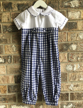Load image into Gallery viewer, Navy Gingham Longall/Romper