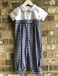 Navy Gingham Longall/Romper