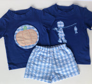Fishing/Pumpkin Gingham Short Set