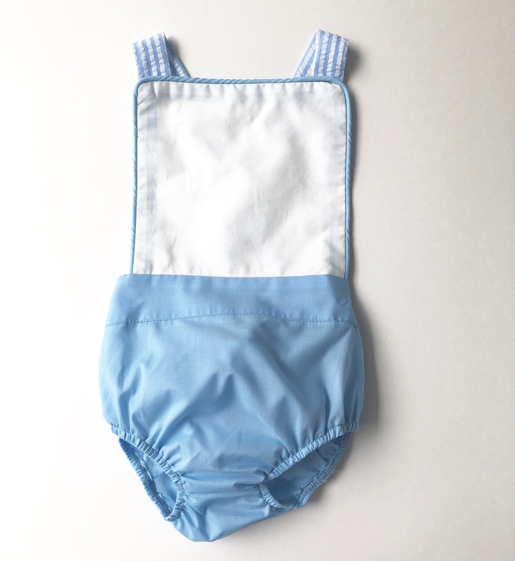 White/Blue Seersucker Sunsuit