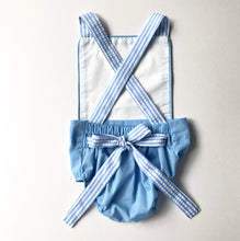 Load image into Gallery viewer, White/Blue Seersucker Sunsuit