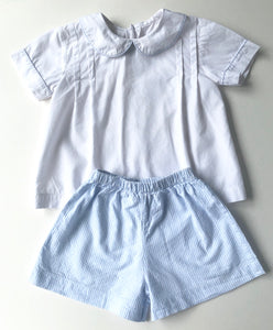 White/ Blue Seersucker Short Set