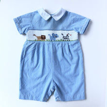 Load image into Gallery viewer, Blue Gingham Smocked Zoo Jon Jon