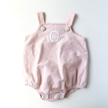 "Load image into Gallery viewer, Orange Seersucker ""C"" Sunsuit"