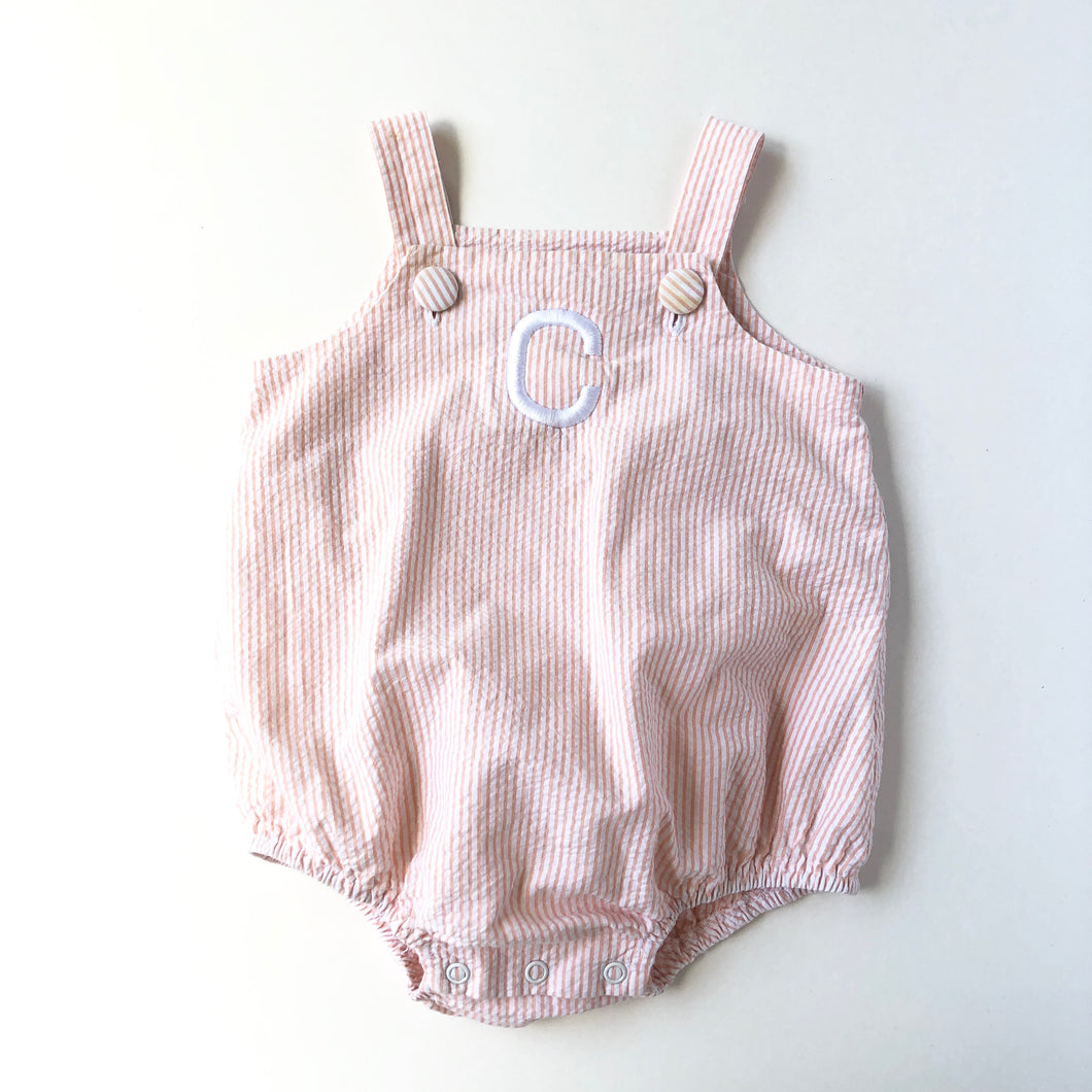 "Orange Seersucker ""C"" Sunsuit"