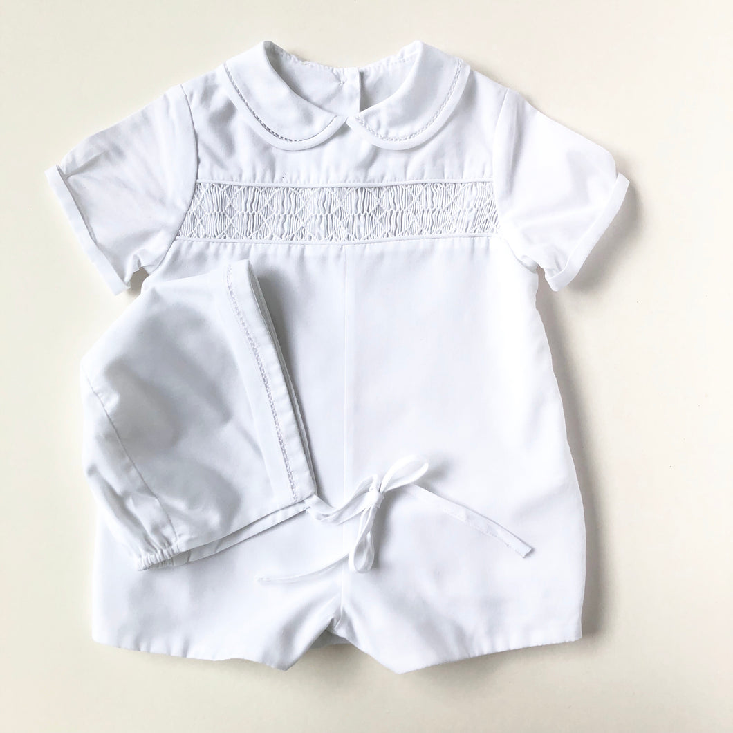White Smocked Jon Jon w/ Bonnet