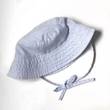 Load image into Gallery viewer, Blue Seersucker Bucket Hat
